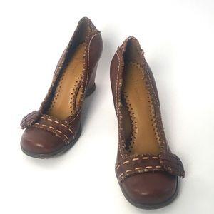 Vince Camuto Vintage tweed button wedge  heel